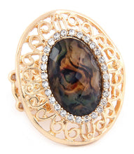 BIG Gold Shimmer Stone Stretch Cocktail Ring