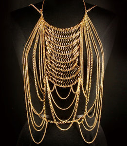LUXE Celeb Statement Body Chain Gold, Silver, Black/Gold