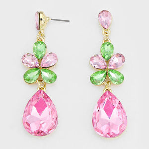 "WHIMSICAL Gold Pink & Peridot Big Crystal 2.5"" Cocktail Earrings"