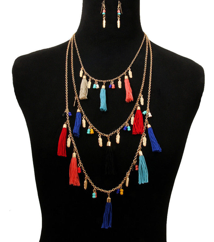 HOT Gold Multi Coloured Layered Tassel Necklace Set