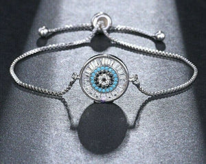ELEGANT Silver Evil Eye CZ Adjustable Slider Cinch Bracelet