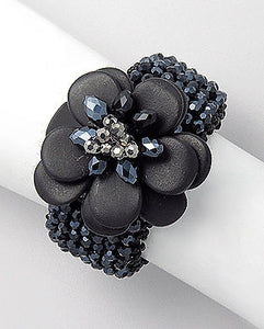 LUXE Silver Couture Onyx & Crystal Hand Crafted Bracelet