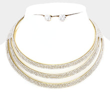 Statement Gold Wide Cuff Crystal Choker Necklace Set