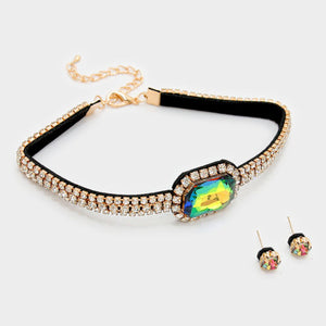 Gold Vitrail Crystal Choker Necklace Set