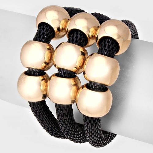 Gold Black Mesh Ring Charm Layered Stretch Bracelet Set