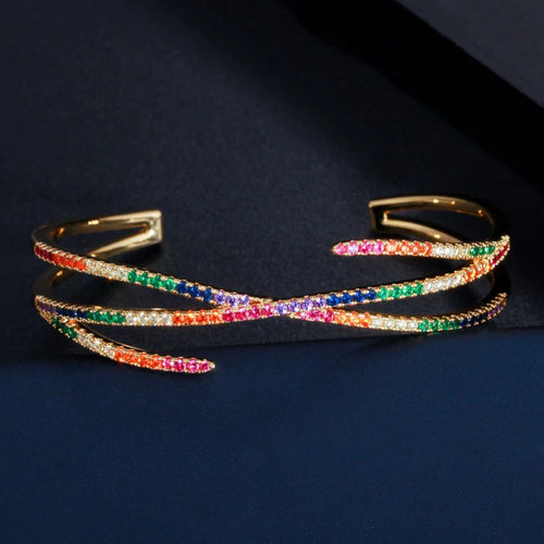 LUXE ELEGANT Gold Multi Colour CZ Adjustable Cuff Bangle