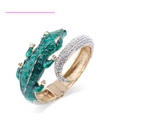 Gold Green Crocodile Alligator Crystal Hinge Bangle Cuff Bracelet