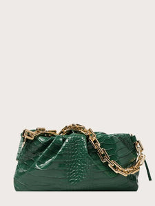 VEGAN LEATHER Green Croc Embossed Chain Ruched Clutch Kim Handbag