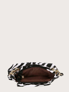 VEGAN LEATHER SMALL MINI Zebra Ruched Clutch Katie Handbag
