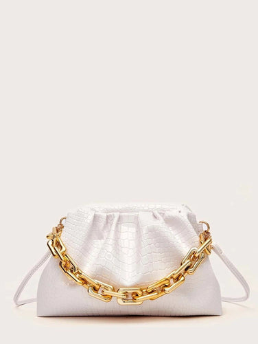 VEGAN LEATHER White Croc Embossed Chain Clutch Avery Handbag
