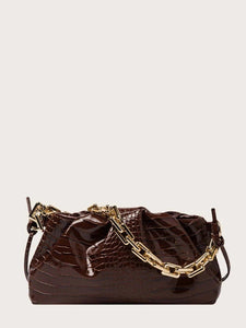 VEGAN LEATHER Mocha Croc Embossed Chain Ruched Clutch Kim Handbag