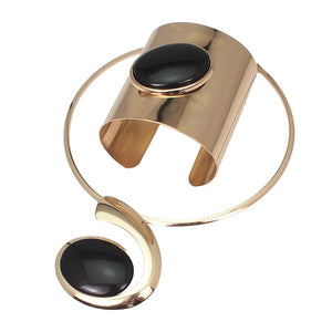 STATEMENT GOLD Black Collar Choker Necklace Cuff Bracelet Set