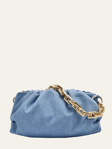 BLUE DENIM Medium Gold Chain Clutch Bag Ruched Jenna Handbag