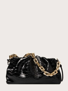 VEGAN LEATHER Black Croc Embossed Chain Ruched Clutch Kim Handbag