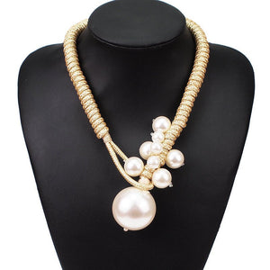 Statement Gold Metallic Cord Large Pearl Collar Bib Necklace