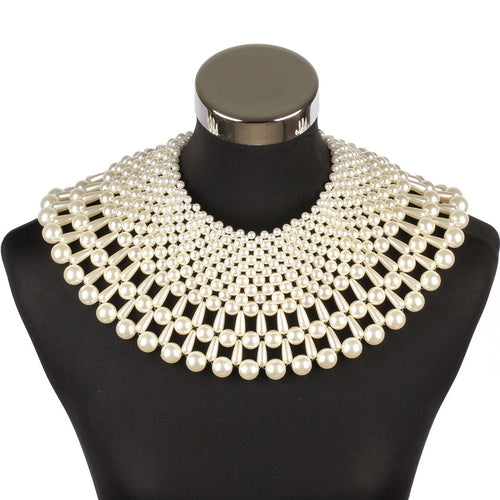 AMAZING Statement Gold Winter White Pearl Choker Cape Necklace