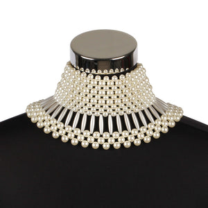 LUXE Statement Gold Wide Cream Pearl Choker Collar Necklace