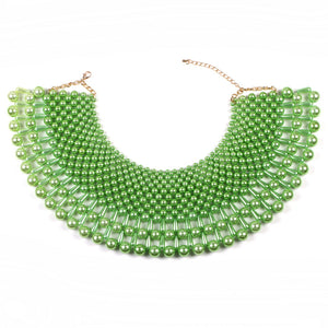 AMAZING Statement Gold Peridot Green Pearl Choker Cape Necklace