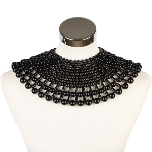 AMAZING Statement Black Gold Pearl Choker Cape Necklace