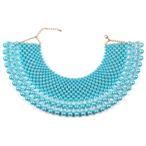AMAZING Statement Gold Ocean Blue Pearl Choker Cape Necklace