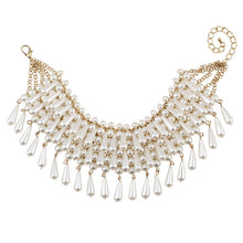 Gorgeous Statement Gold Cream Pearl Choker Collar Necklace