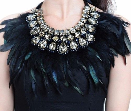 LUXE Statement Black Feather Golden Champagne Crystal Shoulder Necklace
