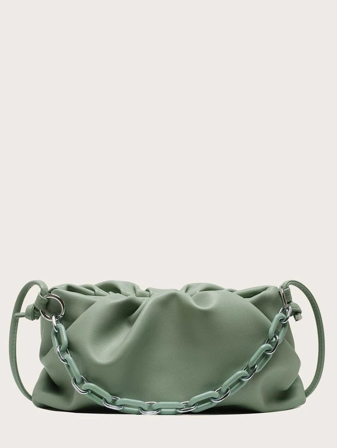 VEGAN LEATHER Green Ruched Shoulder Bag Clutch Dina Handbag