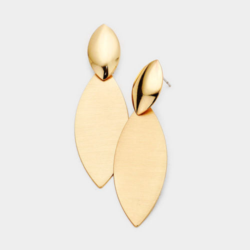 GLAM Celeb Gold Big 2.25 inch Classy Oval Earrings