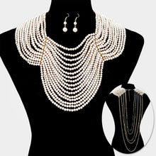 LUXE Statement Gold Pearl Front & Back Drop Bib Necklace Set