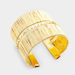 Statement Gold Wired Metal Cage Crystal Cuff Bangle