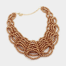 Statement Glam Gold Faux Pearl Bib Necklace Set