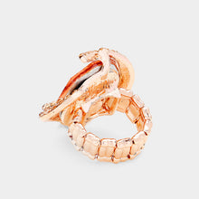 GLAM BIG Rose Gold Vibrant Peach Crystal Stretch Cocktail Ring