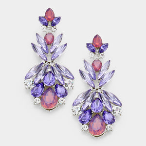 "EXQUISITE Rhodium Purple Tanzanite Crystal Big 2.5"" Cocktail Earrings"