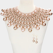 LUXE SPECTACULAR Statement Brown Shades Pearl Choker Bib Necklace