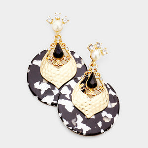 STATEMENT Unusual Gold Black Crystal Celluloid Cocktail Earrings