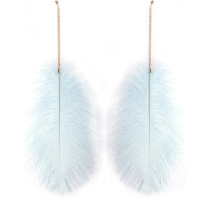 "Whimsical Gold Pale Blue Feather Huge 13"" Cocktail Earrings"