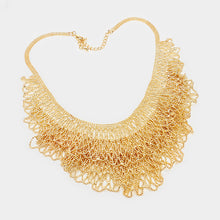 LUXE STUNNING Intricate Statement Gold Webbed Ball Necklace