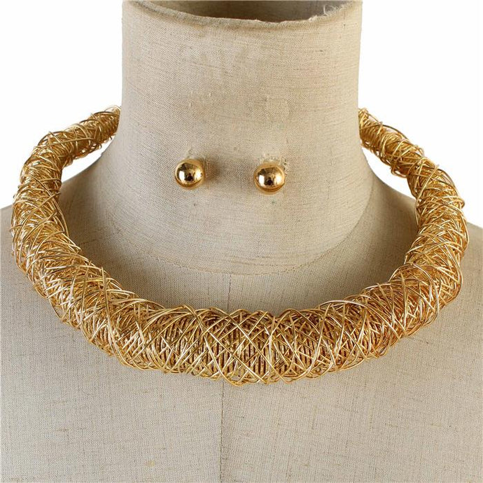 Chunky Gold Wire Wrapped Collar Necklace Set