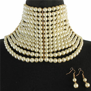 Elegant Statement Gold Cream Pearl Wide Choker Necklace Set