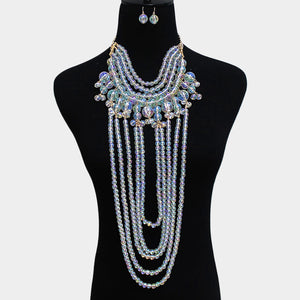 LUXE Rare Statement Gold AB Beaded Long Bib Cocktail Necklace Set