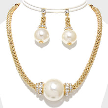 Statement Gold Cream Huge Pearl Crystal Collar Necklace Set