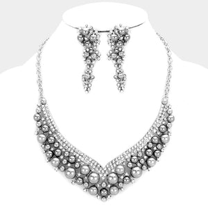 Silver Grey Pearl Crystal Bib Cocktail Necklace Set