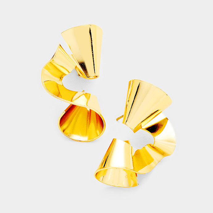 Contemporary Glam Celeb Gold Twisted Metal Quality Earrings