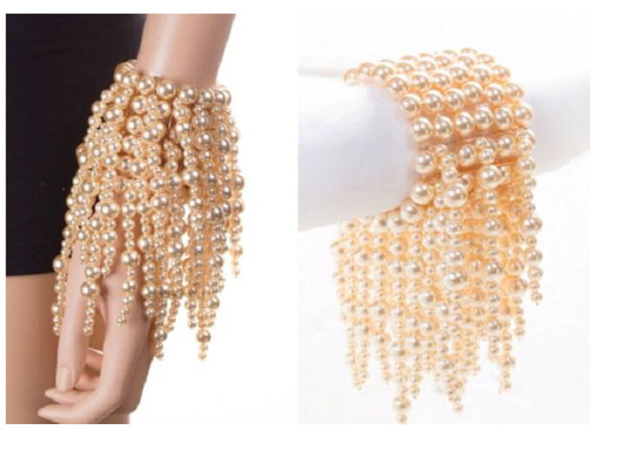 LUXE  Statement Gold Cream Pearl Strand Bracelet