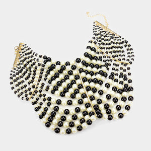 Statement Gold Black & Cream Pearl Wide Choker Necklace