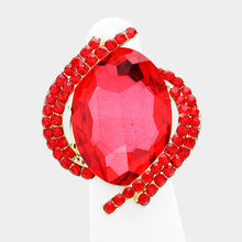 BIG Gold Vibrant Siam Red Crystal Stretch Cocktail Ring
