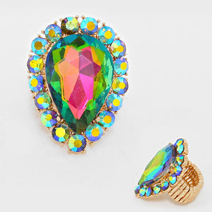 BIG Gold Vibrant Vitrail Crystal Stretch Cocktail Ring