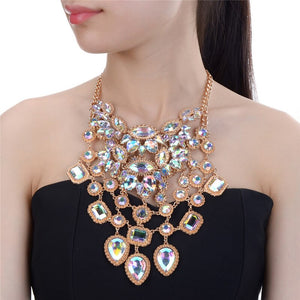 GLAM Statement Gold AB Crystal Collar Large Bib Necklace