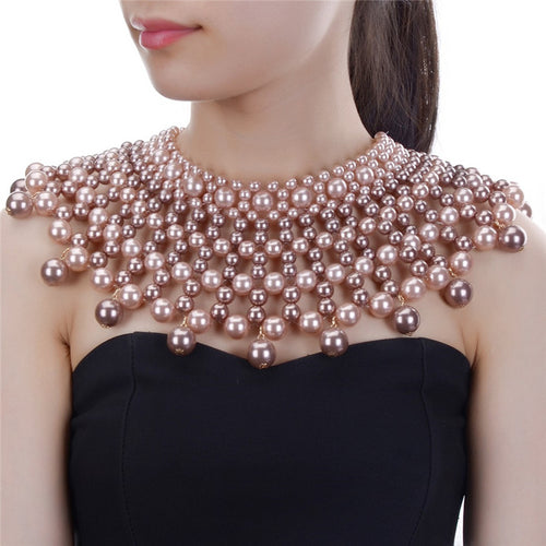 LUXE SPECTACULAR Gold Pink Brown Pearl Choker Cape Necklace