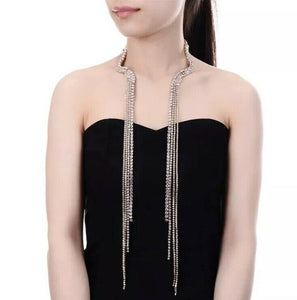 FABULOUS Glam Gold Pave Crystal Choker 2 Way Long Tassel Necklace